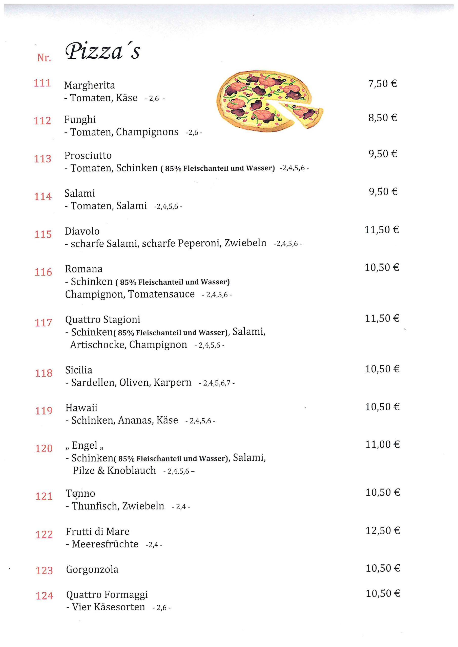 Corona Karte Pizza Neu